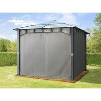 Pavillon de jardin 3x3 m imperméable toit en polycarbonate ALU DELUXE tonnelle 8mm pavillon 4 côtés partie tente gris env. 9x9 cm profil