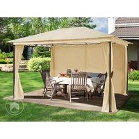 Pavillon de Jardin 3x4 m tonnelle étanche Tente de Jardin 4 côtés, bâche de Toit env. 180g/m² Tente de réception Beige