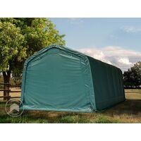 Tente de pâturage robuste 3,3x7,2 m étanche bâche PVC env. 550g/m² abri pour chevaux écurie ouverte, vert