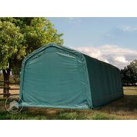 Tente de pâturage robuste 3,3x8,4 m étanche bâche PVC env. 550g/m² abri pour chevaux écurie ouverte chèvres, vert