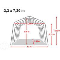 Tente garage carport 3,3 x 7,2 m tente d'élevage abri stockage H 2,1m, bâches PVC anti feu épaisses d'env. 720g/m² vert foncé, sol dur, béton