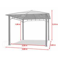 Tonnelle de Jardin 3x3 m Structure en Aluminium Toit Polycarbonate épaisseur env. 8 mm pavillon de Jardin Rideaux Non Inclus