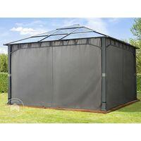 Tonnelle de Jardin 4x4 m Structure en Aluminium Toit Polycarbonate épaisseur env. 8 mm pavillon de Jardin Gris