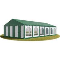 Tente Barnum de Réception 6x12 m PREMIUM Bâches amovibles PVC env. 500g/m² vert-blanc + Cadre de Sol Jardin
