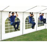 Tente Barnum de Réception 4x10 m PREMIUM Bâches amovibles PVC env. 500g/m² blanc + Cadre de Sol Jardin