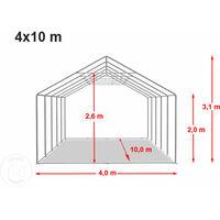 Tente Barnum de Réception 4x10 m PREMIUM Bâches amovibles PVC env. 500g/m² gris-blanc + Cadre de Sol Jardin