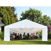 Tente Barnum de Réception 6x12 m PREMIUM Bâches amovibles PVC env. 500g/m² rouge-blanc + Cadre de Sol Jardin