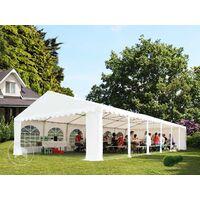 Tente Barnum de Réception 6x10 m PREMIUM Bâches amovibles PVC env. 500g/m² gris-blanc + Cadre de Sol Jardin