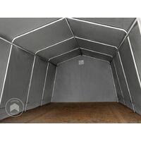 Abri/Tente garage PREMIUM 3,3 x 6,2 m pour voiture et bateau - toile PVC env. 500g/m² imperméable gris