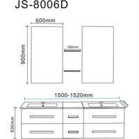BATHROOM FURNITURE New Model WHITE ROME 150 cm white double sinks