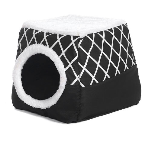 Warm Folding Fleece Pet House Cat Bed Cave Sleeping Cushion Soft Home Cushion L