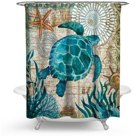 Shower Curtain Marine Turtle Green Waterproof Bathroom Curtains 150x180cm