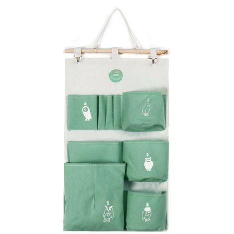 Multi Pockets Wall Hanging Canvas Storage Bags Waterproof Bedroom Wall Office Decor