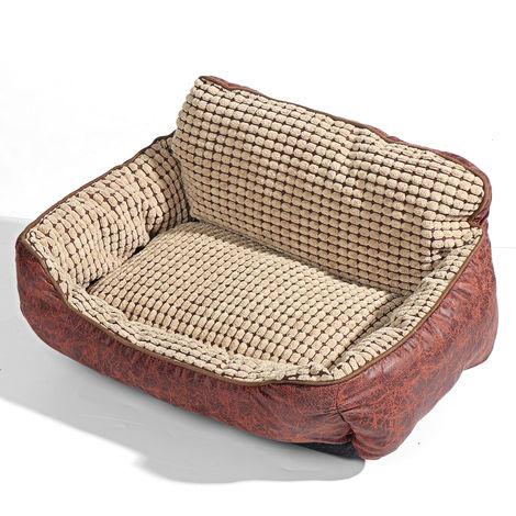 4PCS Pet Sofa Dog Cat PU Leather Cushion Bed Chair Cover + Mat + Pillow