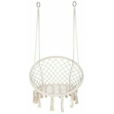 Hammock Swing Chair Hanging Seat Outdoor Garden 125*80cm White