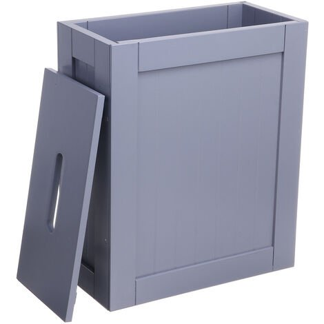 Gray Multipurpose Wooden Bathroom Storage Box