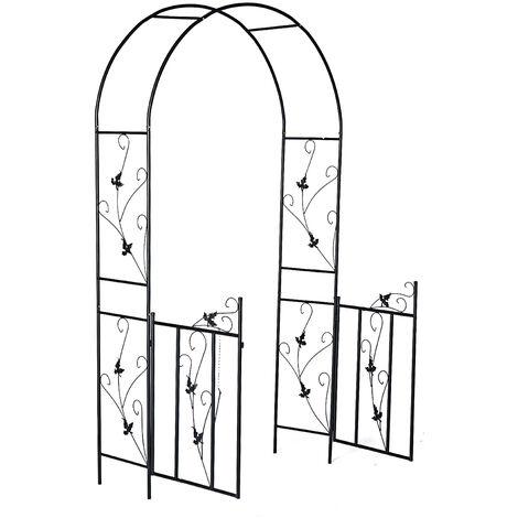 Garden Arch Metal Wedding Plant Arches W/ Gate 230*110*55cm Black