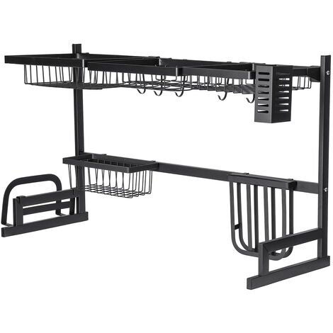 2 Tier Dish Drainer Stainless Steel Cutlery Draining Holder Plate Rack Sink Plate Dish 79cm Black