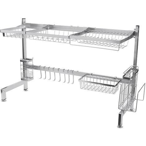 Dish Drainer Rack 92*28*54.5CM Tray Plate Storage Over Sink Kitchen Utensils Holder