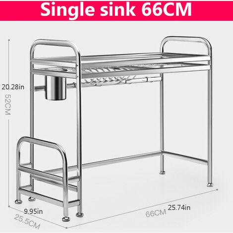 Stainless Steel Organizer Kitchen Shelf Single sink 66CM Dish Rack Sink Dishes Chopsticks Spoon Collection Stand Drying Drain Storage