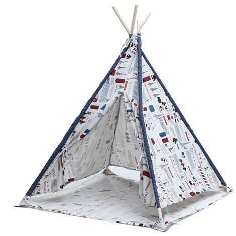 Large Kids Tent Teepee Wooden Playhouse Outdoor Camping Toys Gift 1.8m Tower Pattern