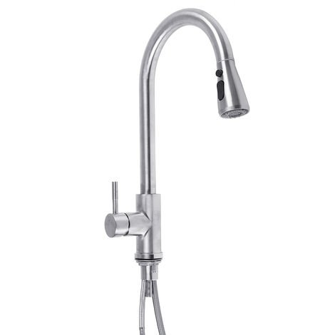Kitchen Pull-Out Faucet Mixer Sink Tap Finish Brushed Spray Swivel Spout