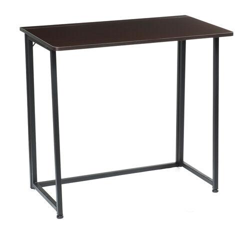 Foldable Computer Desk Folding Laptop PC Table Black walnut