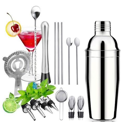 26Pcs Set 750ml Stainless Steel Cocktail Kit Shaker Mixer Drink Bartender Martini Bar Set