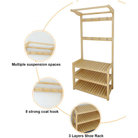Hat Racks Coat Hanger Stand Shelf Shoes Bench Vintage Clothes Storage Hold 60X35X170CM Wood