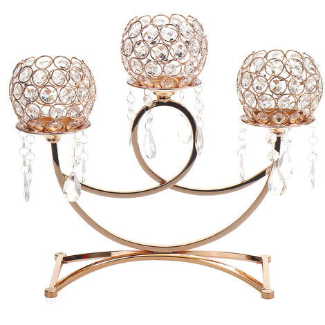 Crystal Candlestick Glass Tealight Candle Holder Wedding Party Decor gold