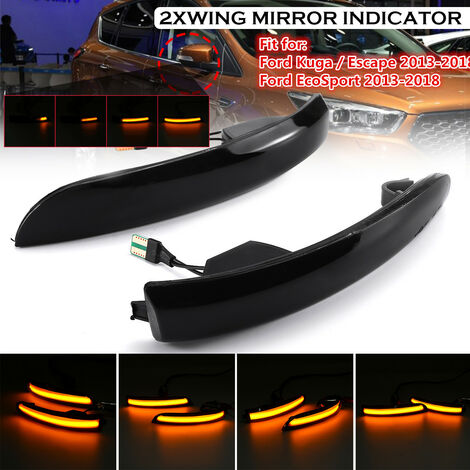 2Pcs Pair Dynamic Flowing LED Mirrors Indicator Light Turn Signal Lamps For Ford Kuga Escape EcoSport 2013-2018 CN15-13B383-AA 1806305