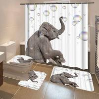 Modern Elephant Bathroom Shower Curtain and Toilet Cover 3PCS
