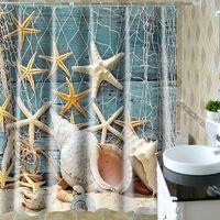 Beach Seashell Conch Starfish Waterproof Shower Curtain