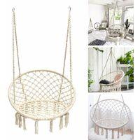 Hanging Hammock Chair Cotton Rope Macrame Hammocks 120*80cm White