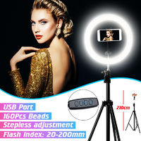 Ring 3 Extra lights Beauty Living Stand Self-timer + Phone holder + Tripod 2.1m mobile video photo