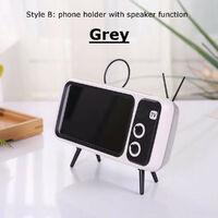 Mini Bluetooth Speaker Audio Retro TV w/ Phone Holder Grey