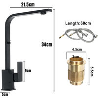 Modern Black Kitchen Sink Taps Mixer Tap Single Lever Basin Faucet 2 hose