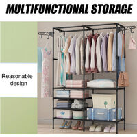 Hanging Clothes Rail Coat Rack Shoe Rack Storage Shelf Cabinet Organizer