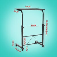 Bed and Sofa Table On Casters Folding Laptop Stand Mobile Side Table Black