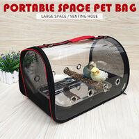 Pet Backpack Black Red 41*23*28CM Transparent Parrot Carrier Cage Bird Travel Bag