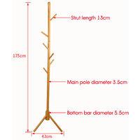 Wooden Coat Stand Rack 175x43cm Burlywood 8 Hooks Standing Wood Tree