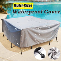 Large Outdoor Cover Garden Furniture Waterproof Patio Rattan Table Cube Set Seat silver 120x120x74cm