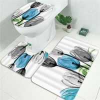 3Pcs Bathroom Anti-slip Carpet Rug Toilet Cover Mat