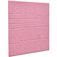 5pcs 3D Tile Brick Wallpaper Wall Sticker Self-adhesive Waterproof Foam Panel pink 70x70cm