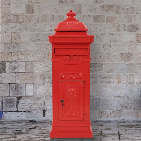 YOUTHUP Säulenbriefkasten Aluminium Vintage-Stil Rostfrei Rot