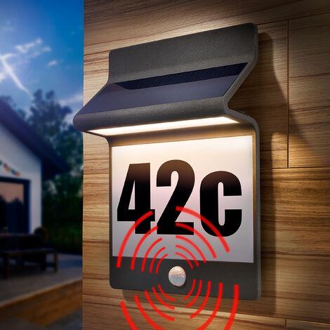 Numéro de maison solaire en aluminium, lumière solaire, numéro de maison, esotec 102650