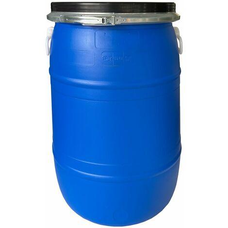 Bidón de plástico con boca ancha de 60 litros   Azul