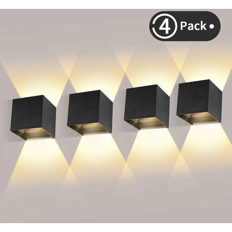4 Pièces Applique Murale LED Exterieur 12W Appliques Murales Interieur 3000K Blanc Chaud Design Etanche IP65 - Noir - Noir