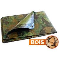 Bâche Bois Camouflage 150 g/m² - 1.8 x 3 m - bâches étanches - bache imperméable - bache exterieur