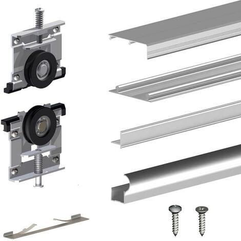 Kit SLID'UP 230 aluminium anodisé naturel pour 3 portes de placard coulissantes 19 mm - rail 2,7 m - 70 kg - Argent